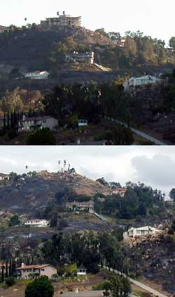 Brown's Castle (house) Before and After - Cedar Fire 2003