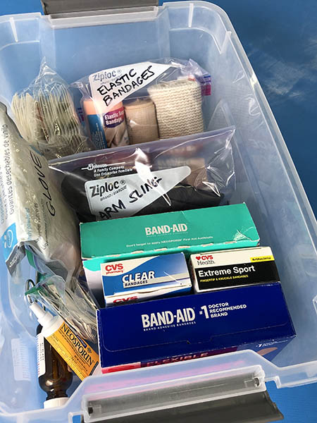 An easy-to-carry bin of bandaging supplies for your dojo first aid kit.