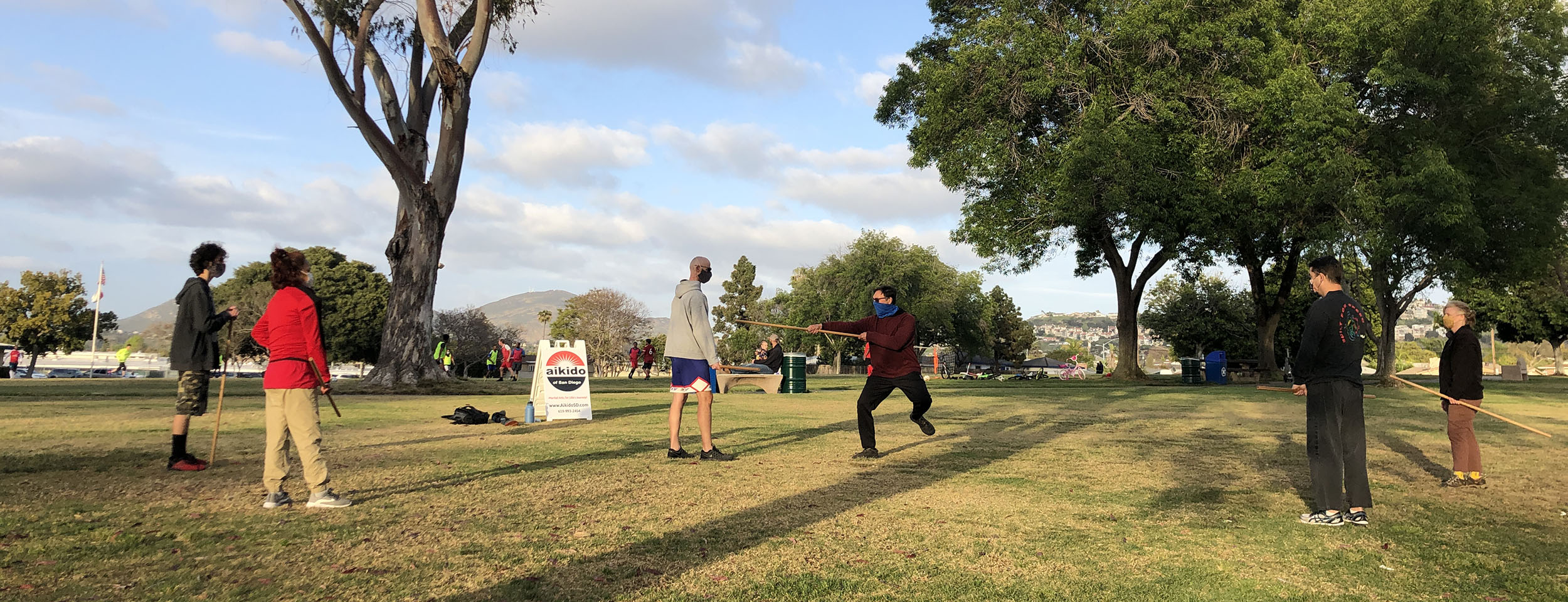 Aikido of San Diego, training in the park during the Covid pandemic